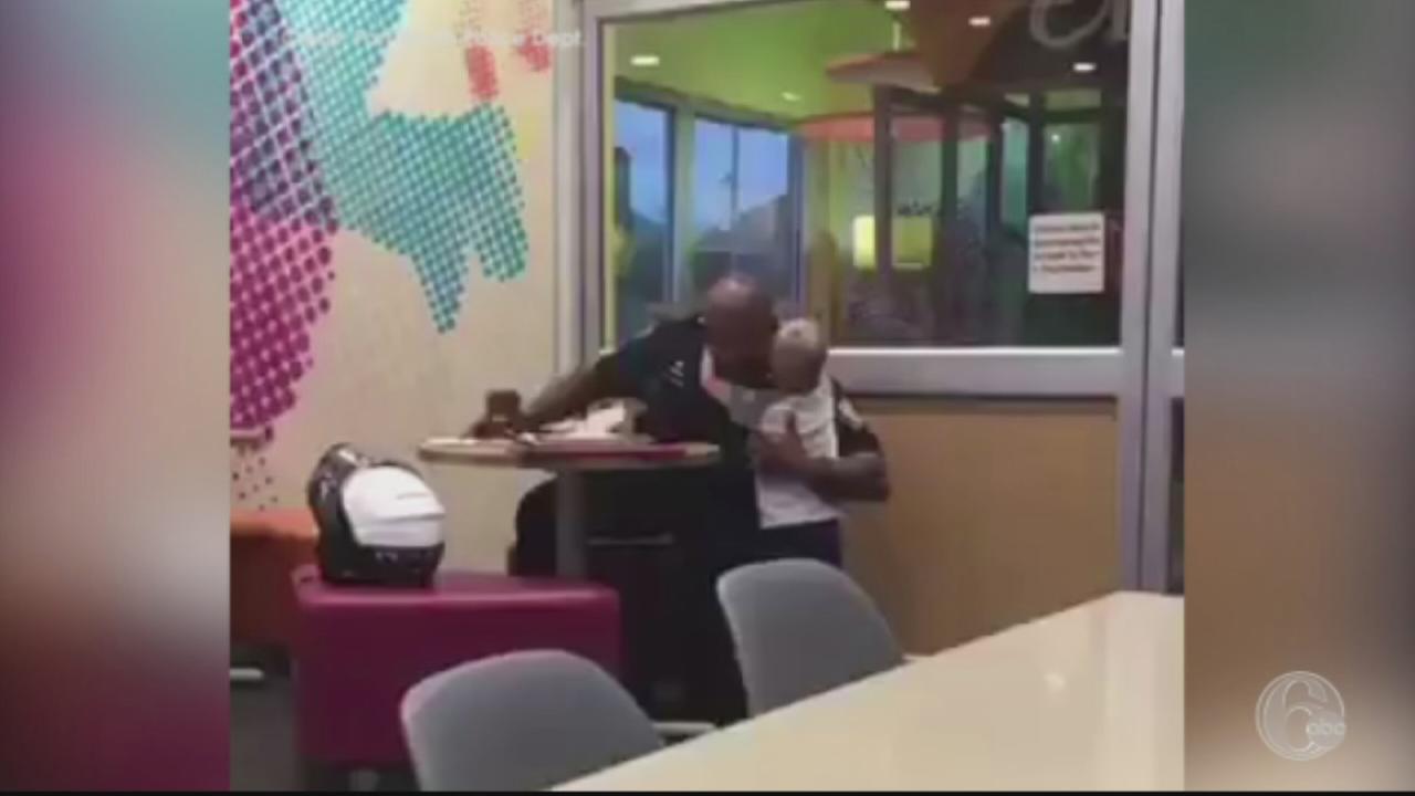 VIDEO: Boy hugs police officer eating alone in restaurant