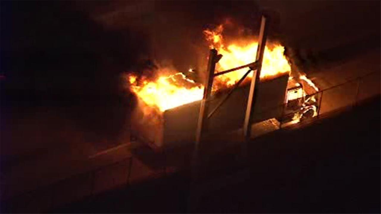 A wildly-intense truck inferno on I-95 led to long traffic backups on the highway Wednesday night.