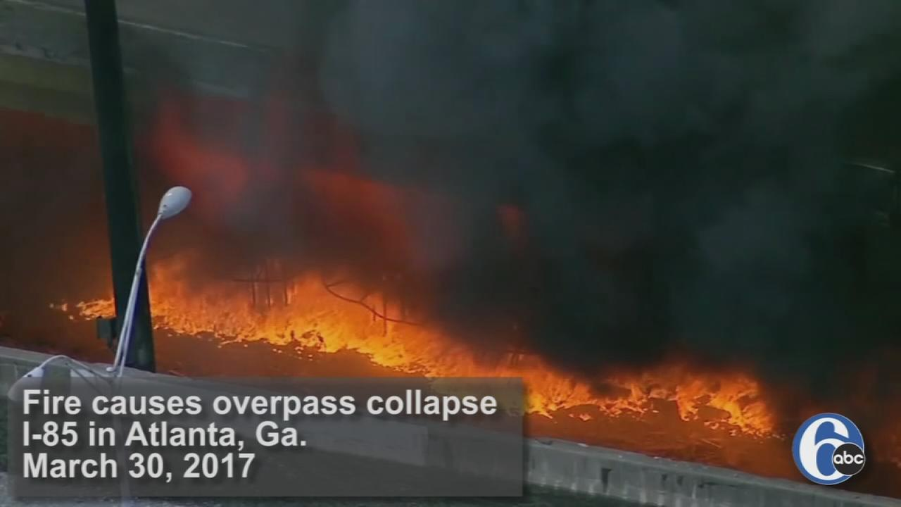 Raw video: Fire causes overpass collapse in Atlanta