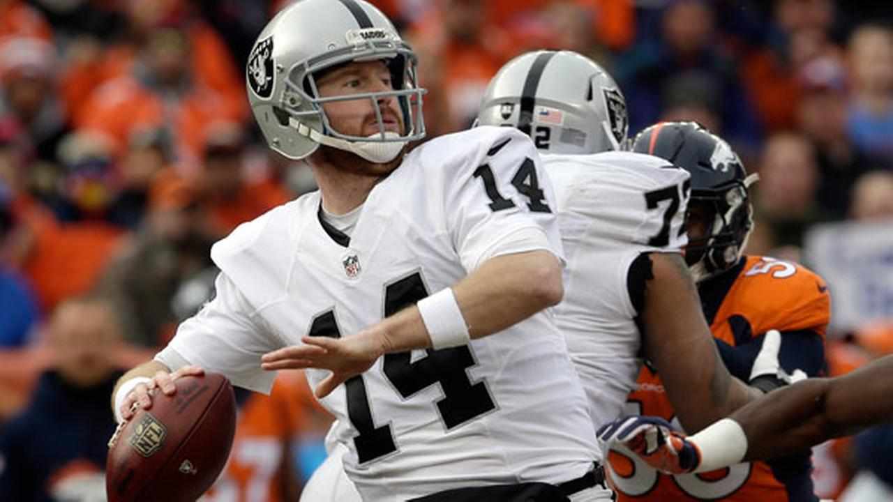 In this Sunday Jan. 1, 2017, file photo, Oakland Raiders quarterback Matt McGloin (14) passes against the Denver Broncos in the first half of an NFL football game in Denver.