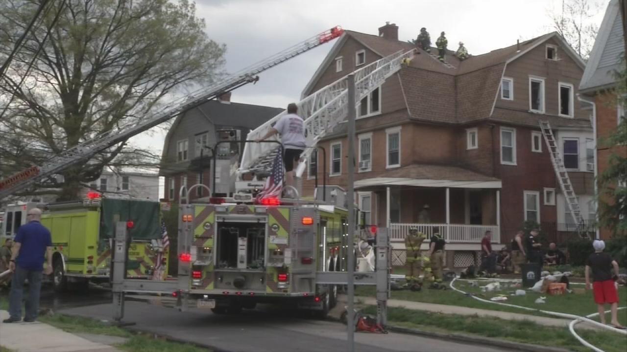 Firefighters battle fire in Lansdowne