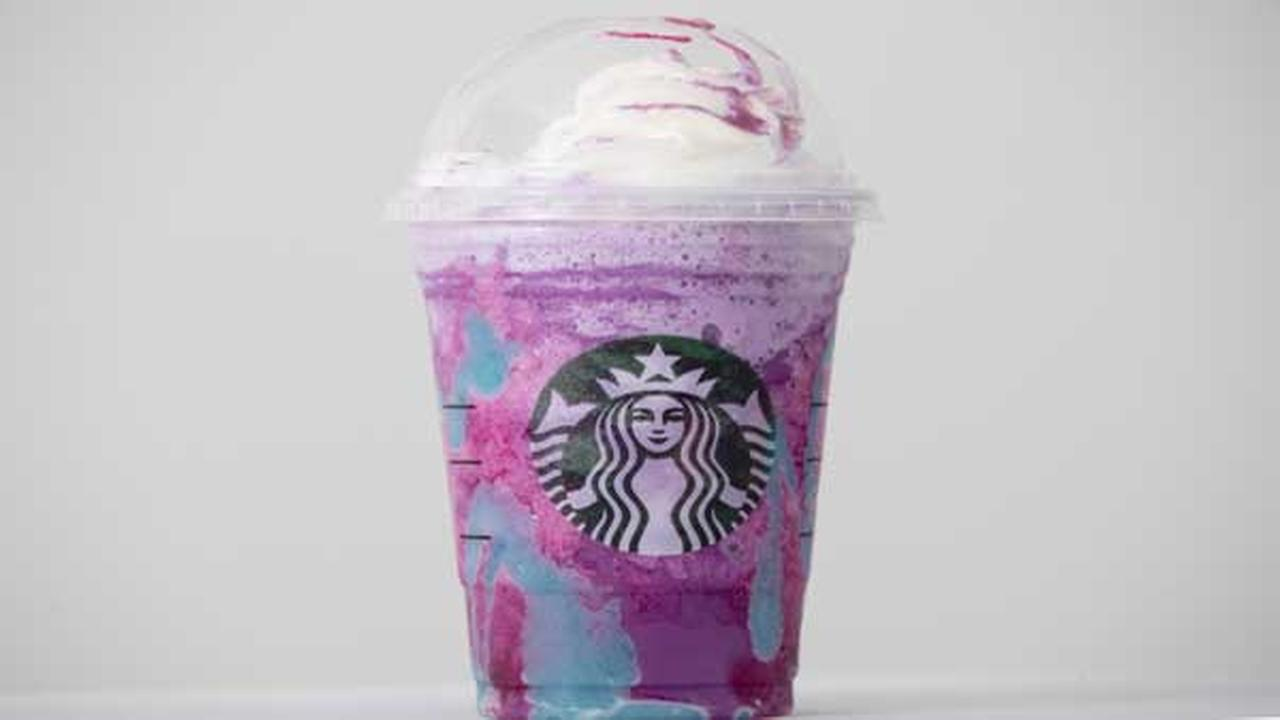 A Starbucks Unicorn Frappuccino drink sits on display, Thursday, April 20, 2017, in Philadelphia.