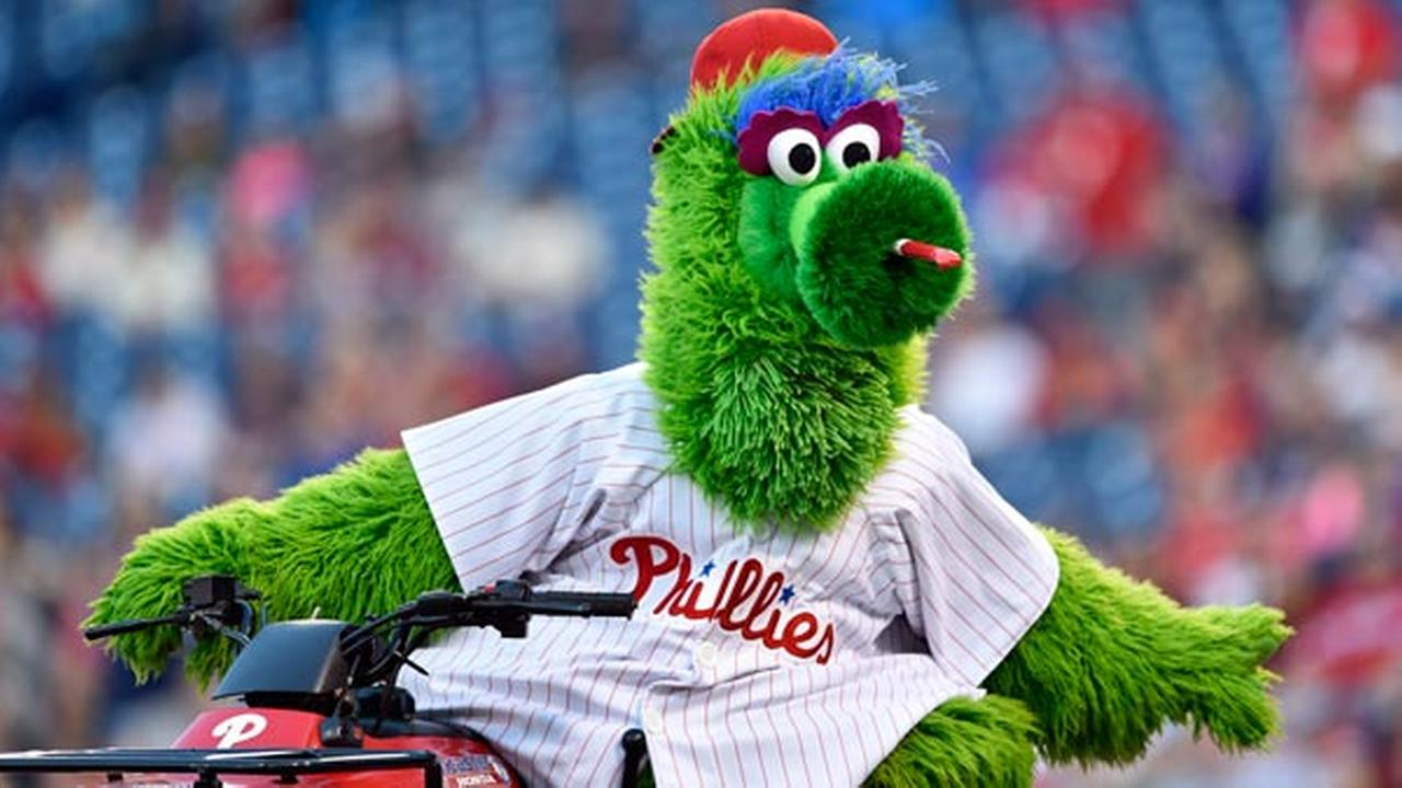 Philadelphia Phillies mascot The Phillie Phanatic in action prior to a baseball game between the Philadelphia Phillies and the New York Mets, Wednesday, April 12, 2017.