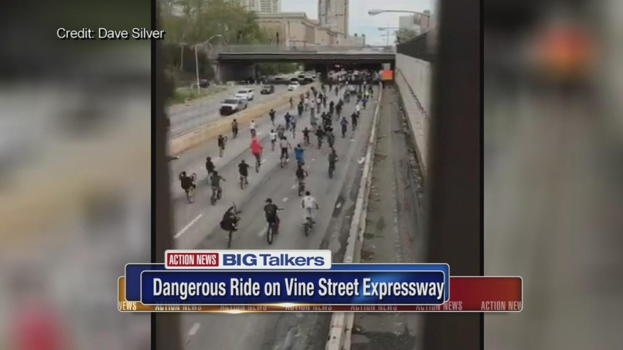 Dozens of bikers take over Vine Street Expressway