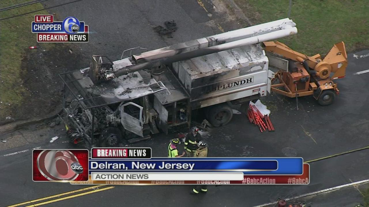 Tree trimming truck catches fire in Delran, NJ