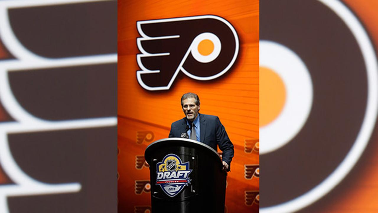 Philadelphia Flyers General Manager Ron Hextall speaks during the first round of the NHL hockey draft, Friday, June 26, 2015 in Sunrise, Fla.
