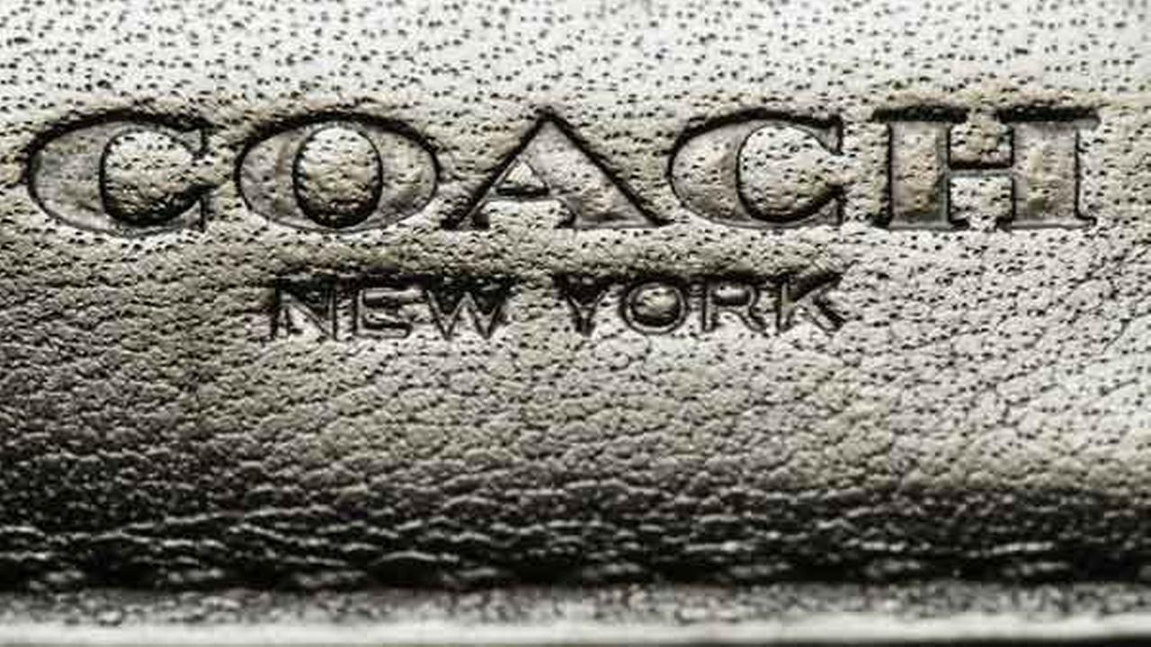 This photo shows a Coach brand logo on a leather wallet in Philadelphia, Monday, May 8, 2017.
