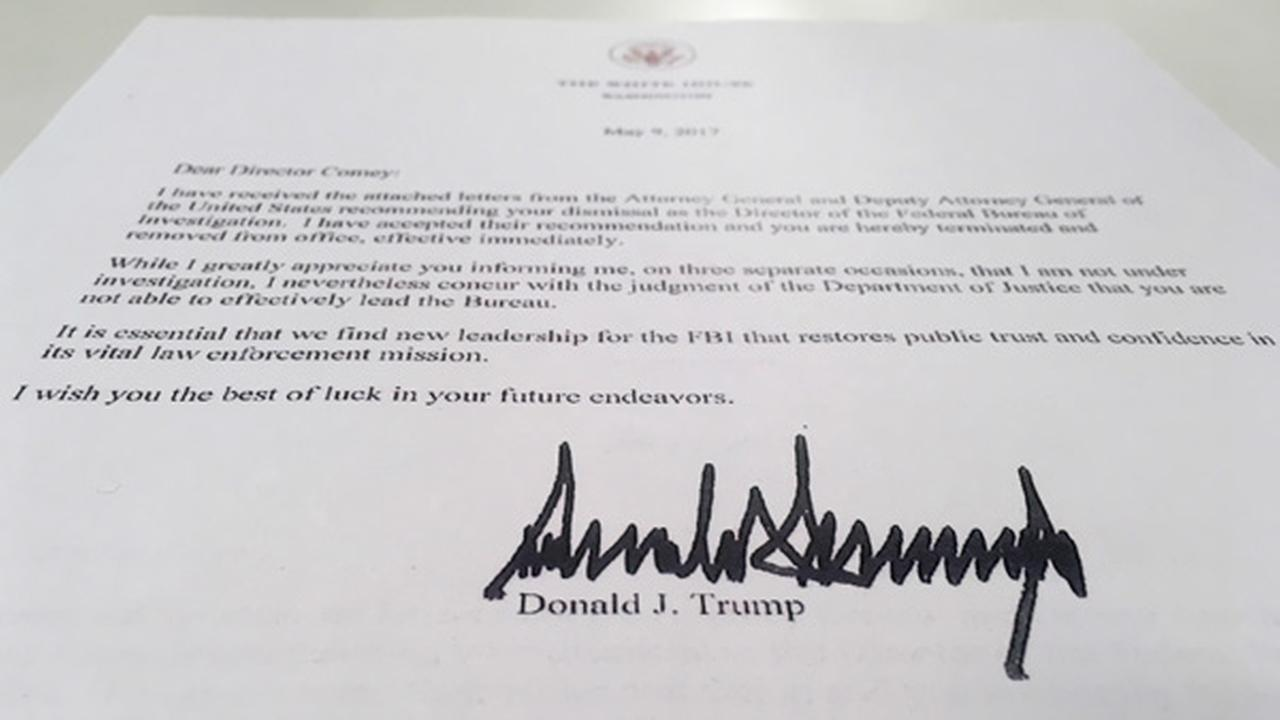 The termination letter from President Donald Trump to FBI Director James Comey is photographed in Washington, Tuesday, May 9, 2017.