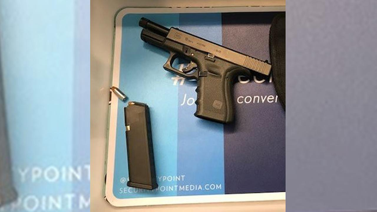 This loaded 9 mm handgun was stopped by TSA officers at a Newark Liberty International Airport checkpoint on Saturday.