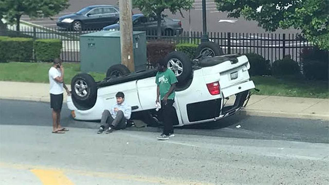 SUV flips after crash in Wynnefield Heights