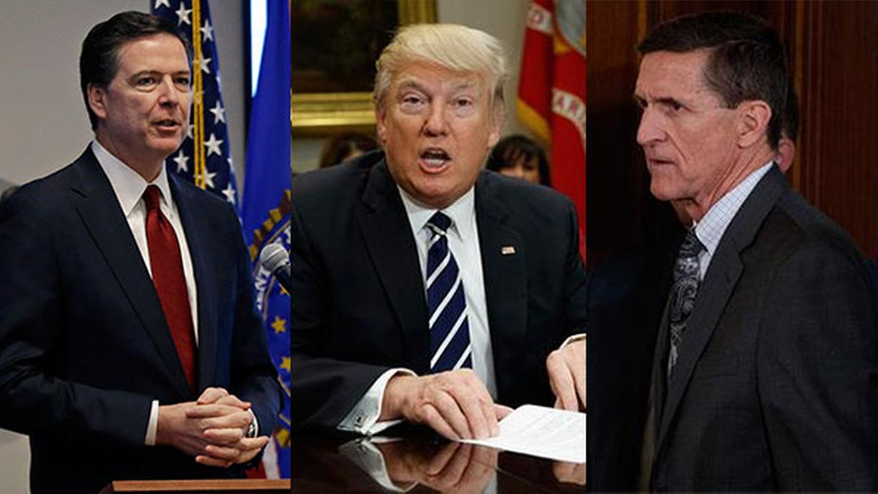 James Comey, President Donald Trump and Lt. Gen. Michael Flynn.