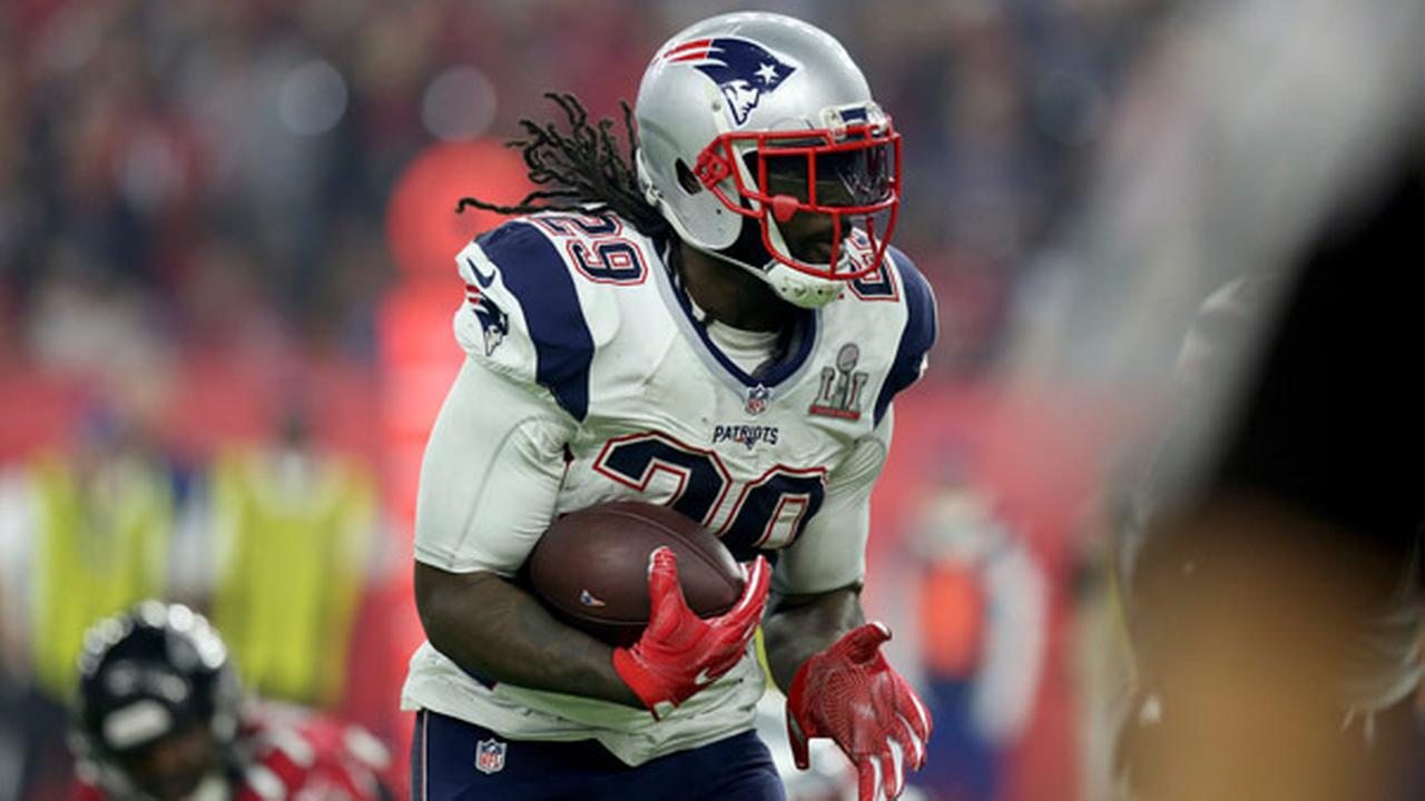 New England Patriots LaGarrette Blount #29 in action against the Atlanta Falcons at Super Bowl 51 on Sunday, February 5, 2017 in Houston, TX.