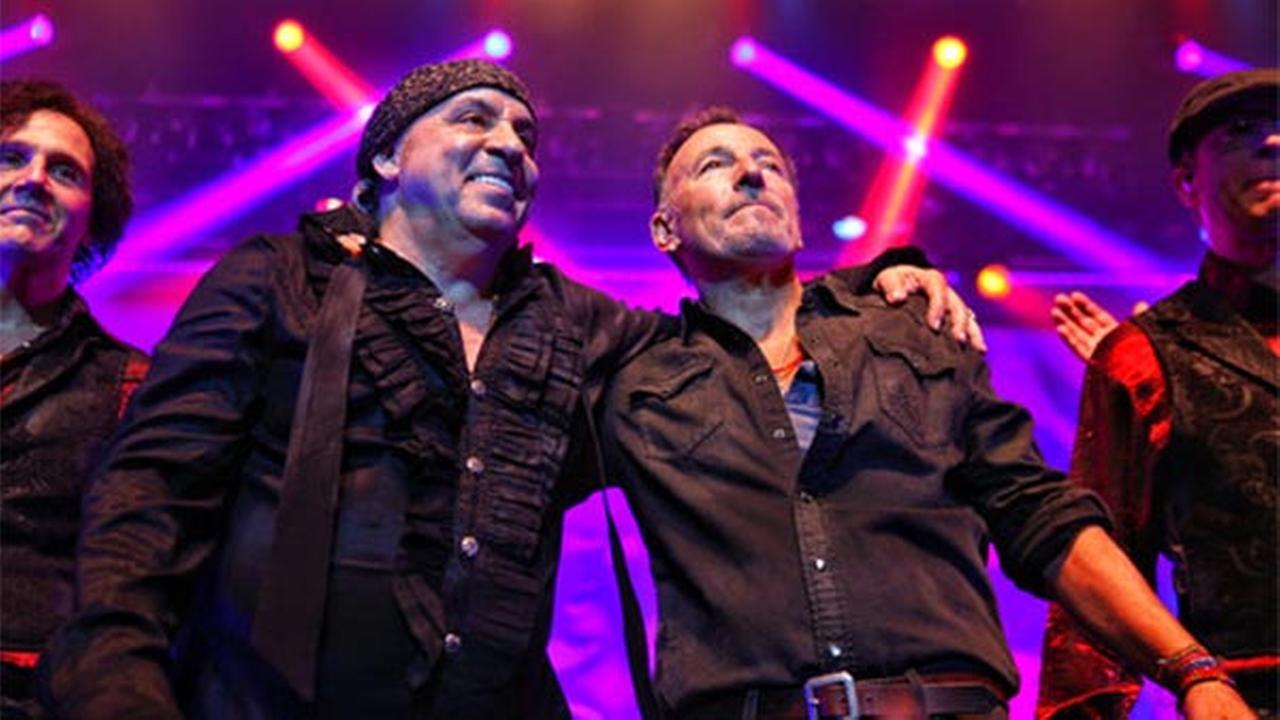 In this Saturday, May 27, 2017 photo, Bruce Springsteen, right, performs at the Count Basie Theatre in Red Bank, N.J., with rocker Steven Van Zandt, left, during the shows encore.