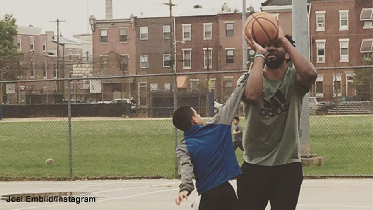 Joel Embiid teaches kids to trust the process at Philadelphia park