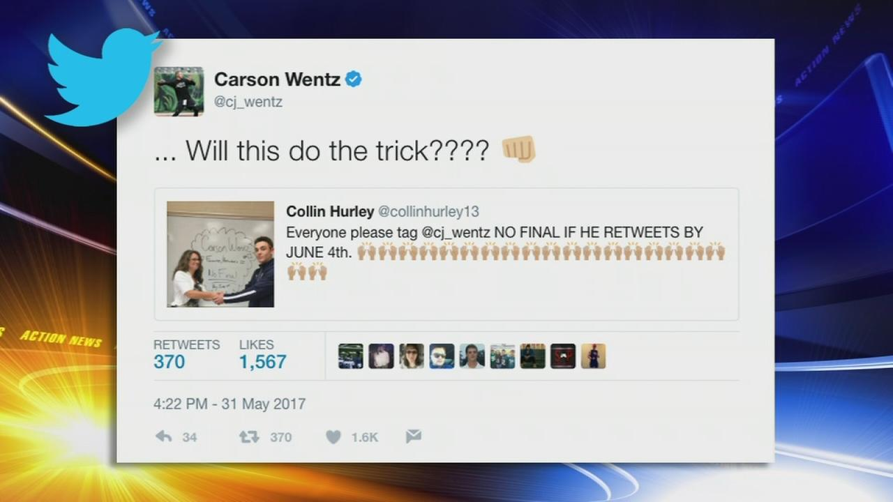 Carson Wentz gets student out of finals