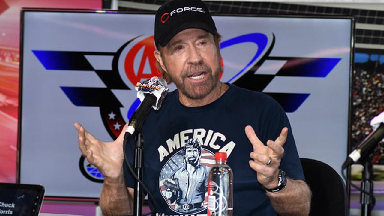 Chuck Norris speaks to reporters during a media availability before the NASCAR Sprint Cup Series auto race at Texas Motor Speedway in Fort Worth, Texas, Sunday, Nov. 6, 2016.