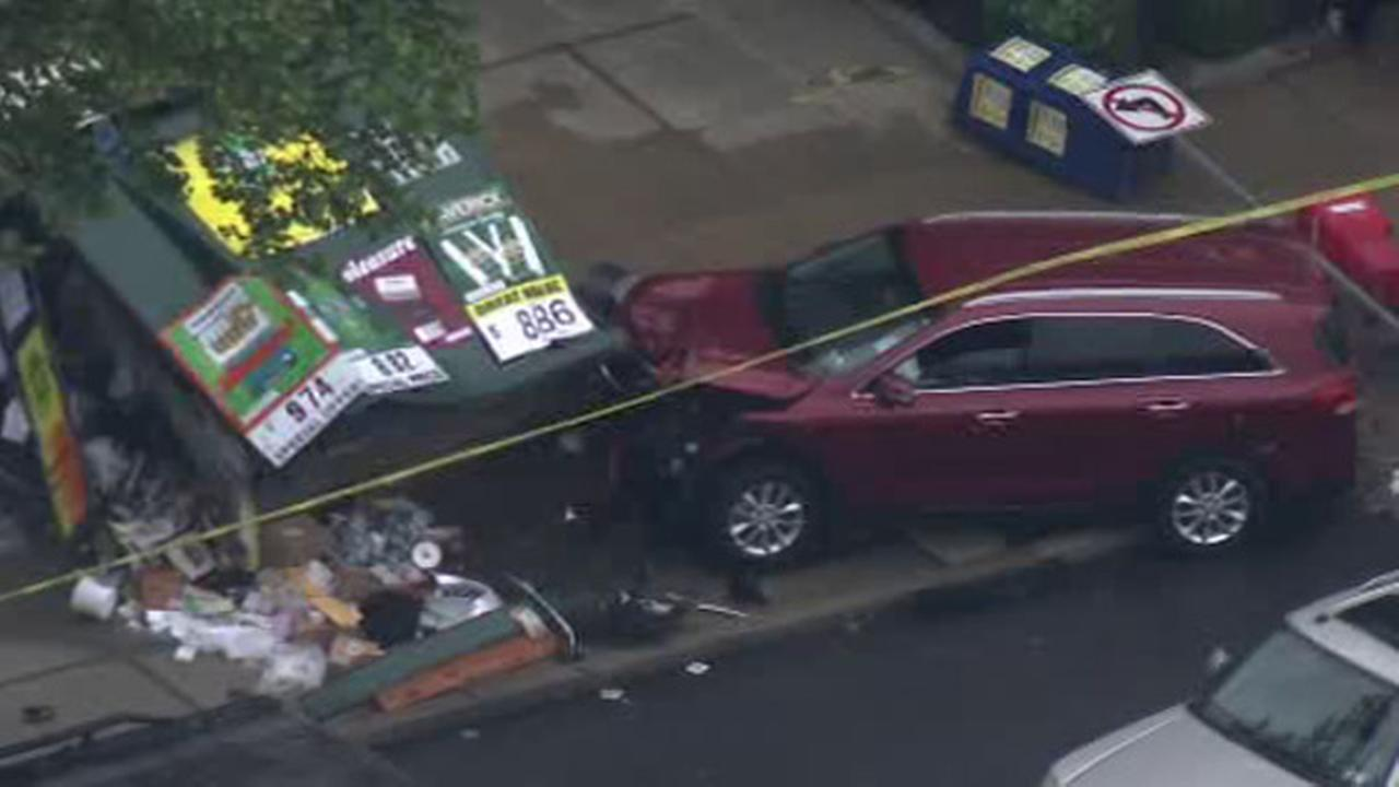 SUV slams into newsstand in West Oak Lane