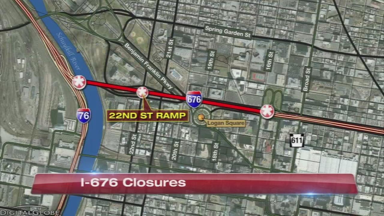 Overnight closures on I-676