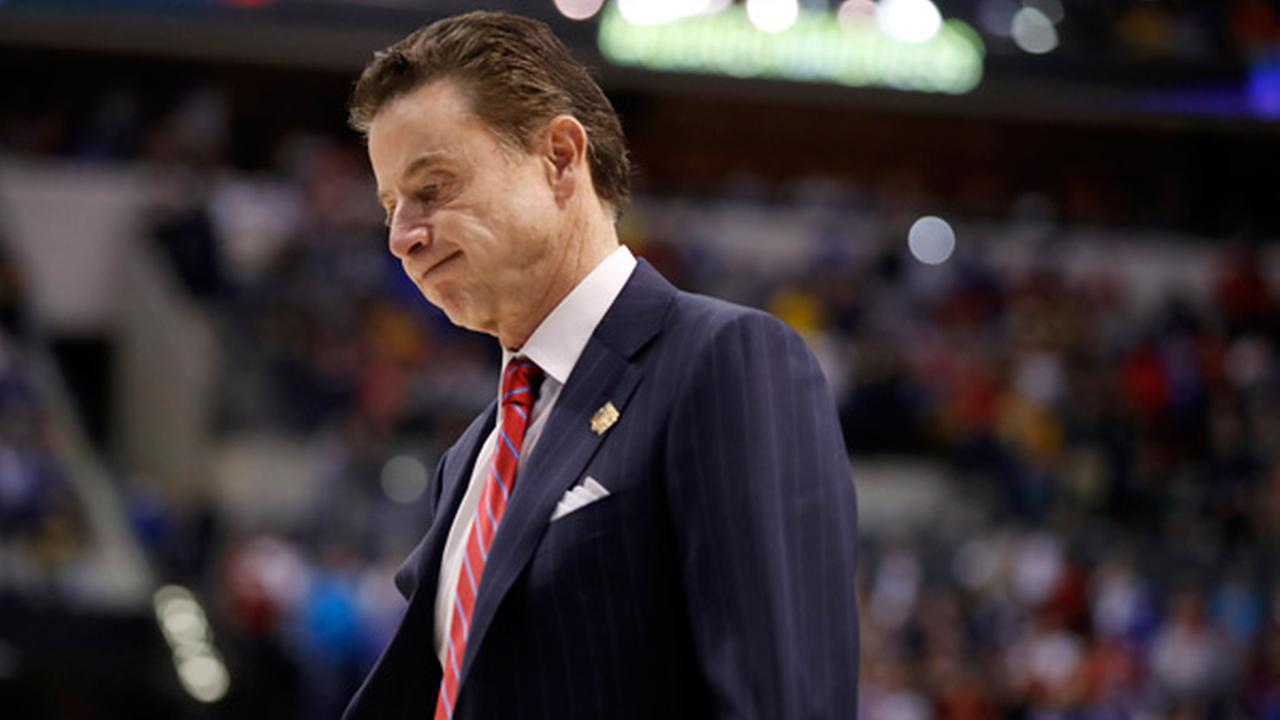 Louisville head coach Rick Pitino walks off the court after a 73-69 loss to Michigan in a second-round game in the mens NCAA college basketball tournament Sunday, March 19, 2017.
