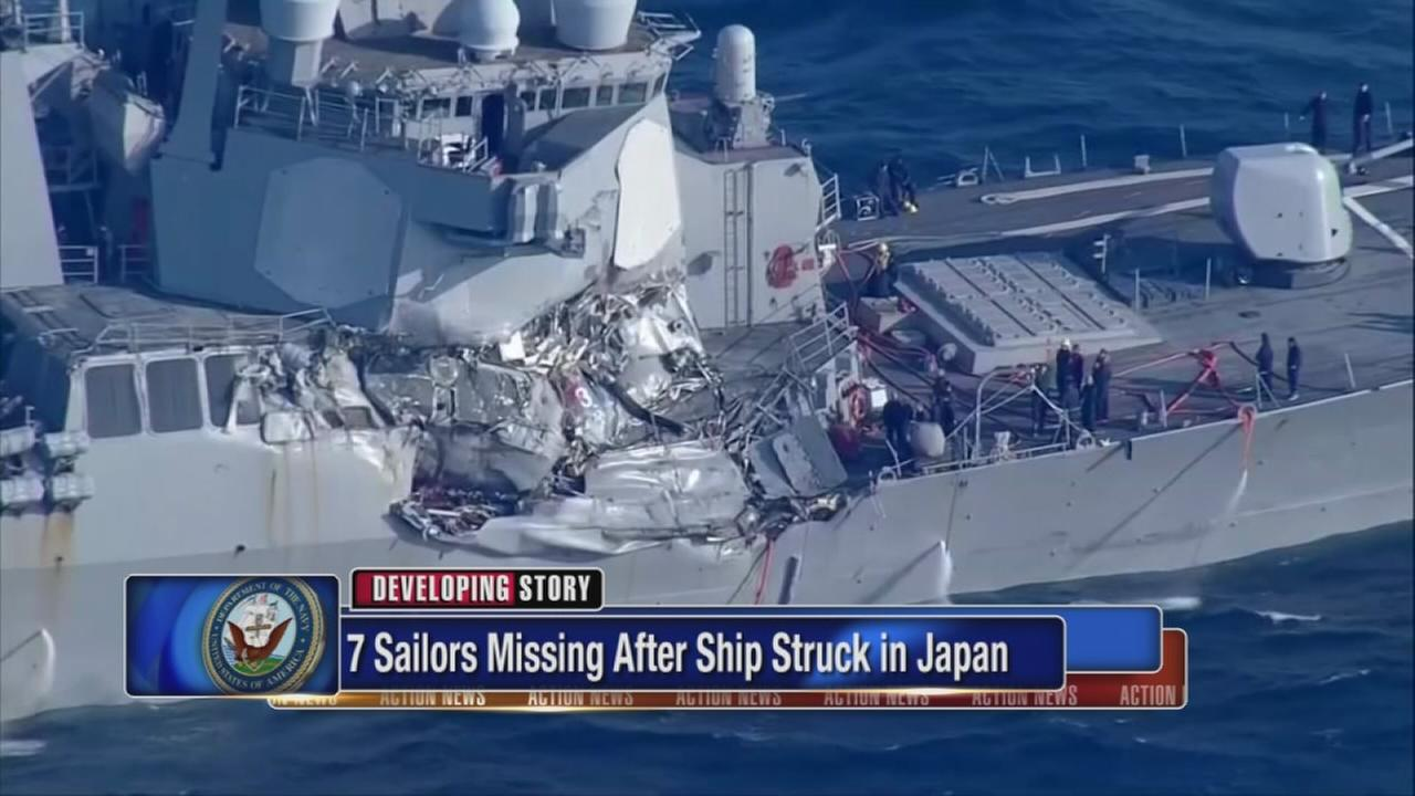 Report: 7 missing from US Navy ship after collision