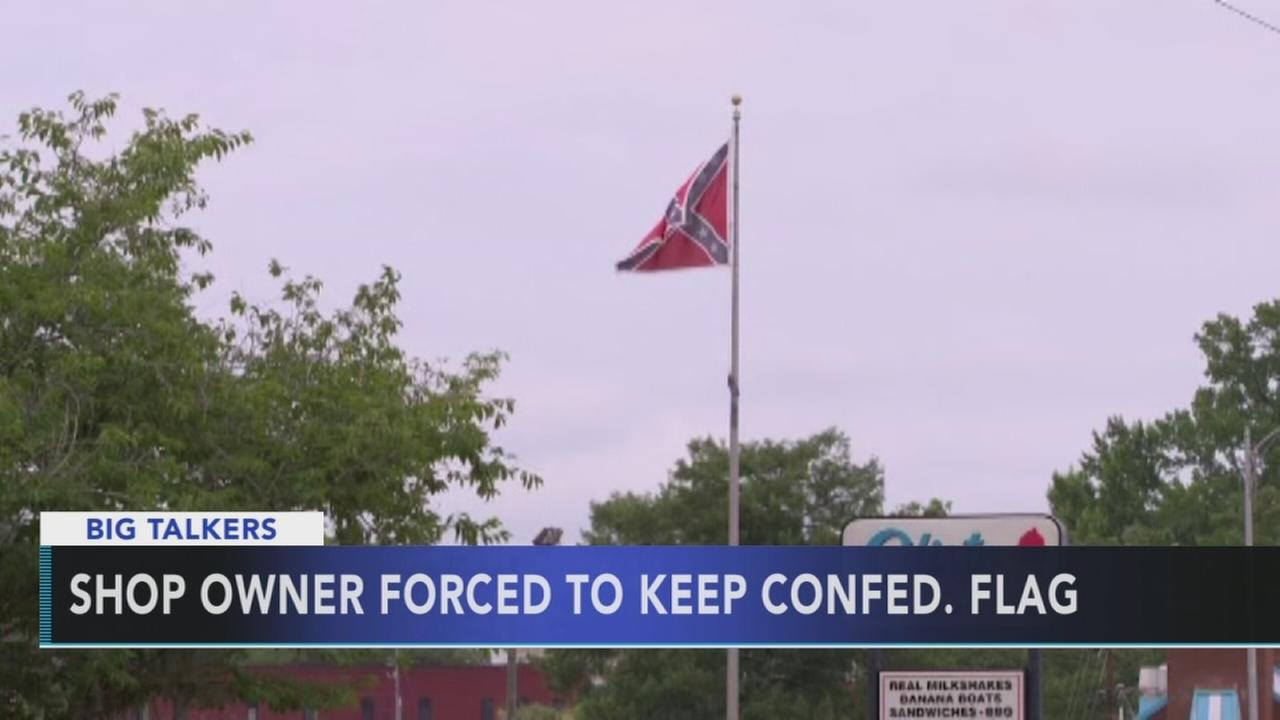 Restaurant owner cant remove Confederate flag flying over business