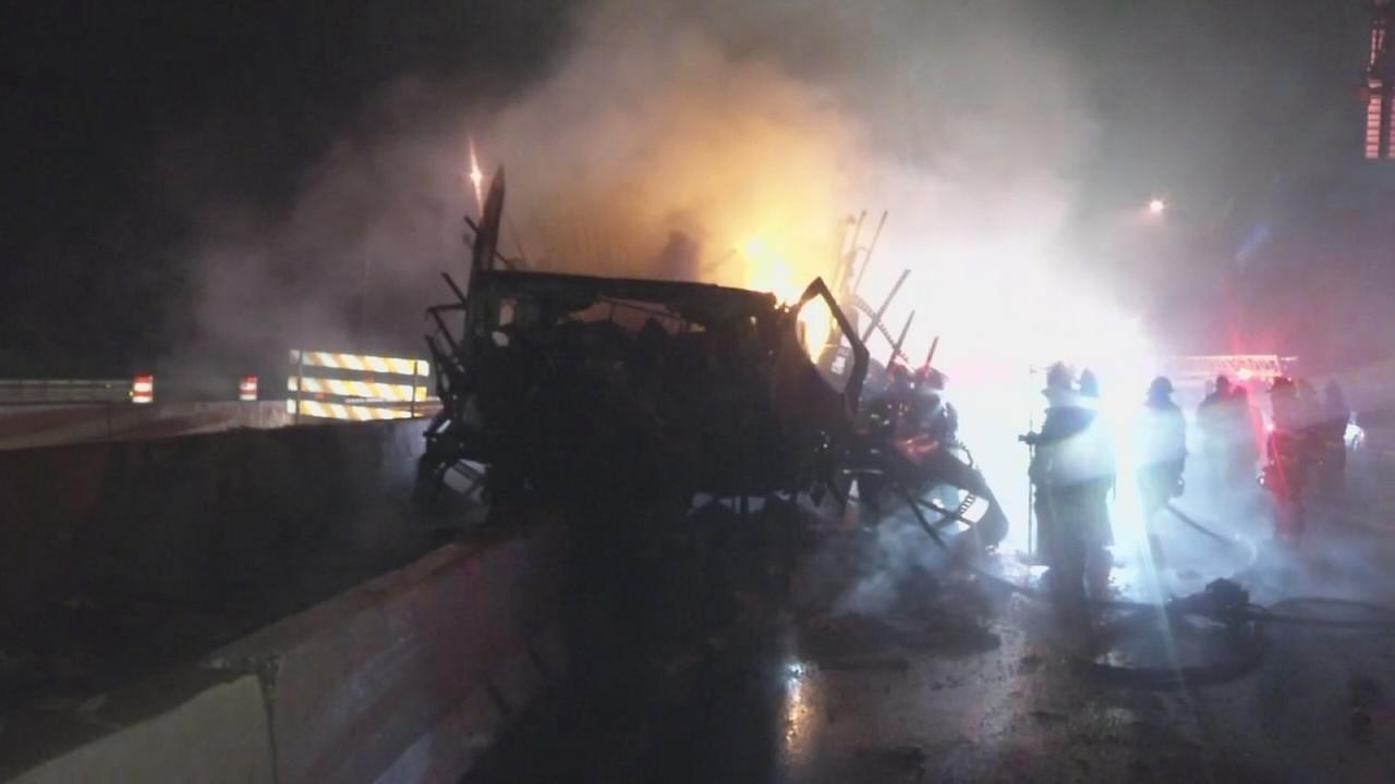 Fiery truck crash on I-95