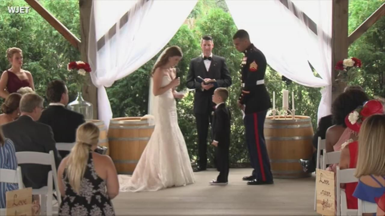 Marines son cries in new step moms arms while they exchange vows