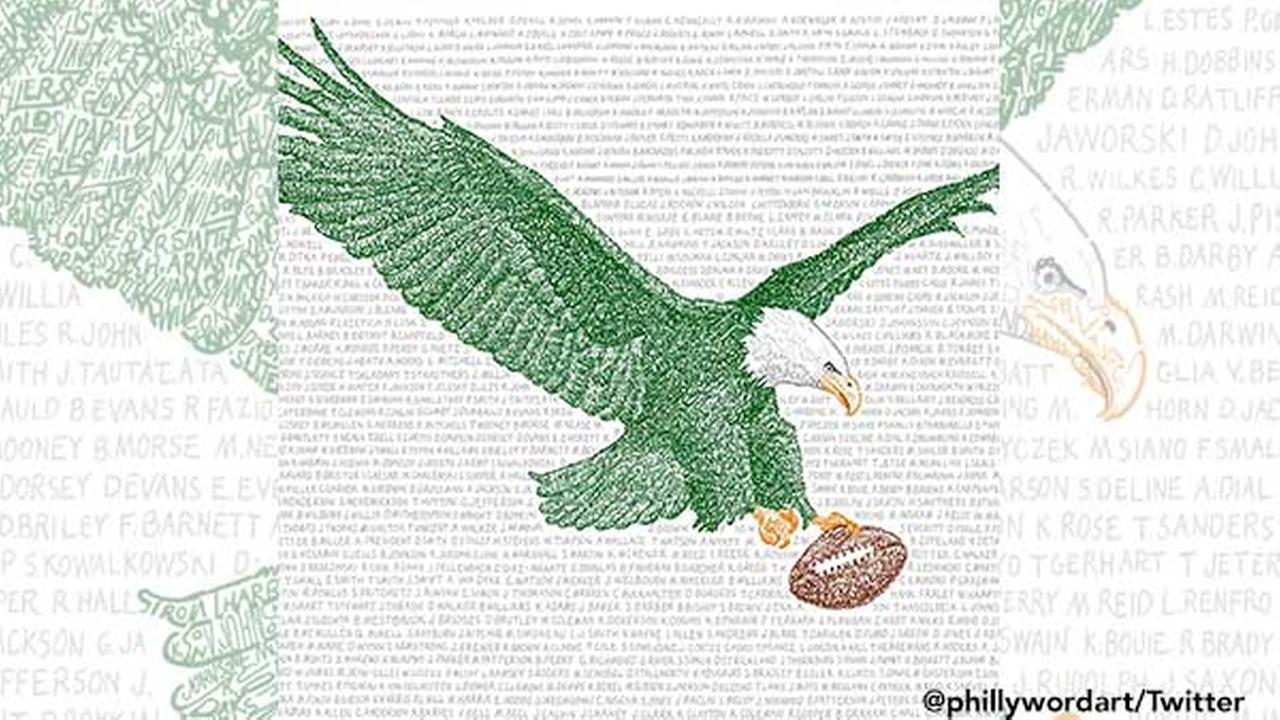 Philly artist uses name of every Eagles player ever in latest work
