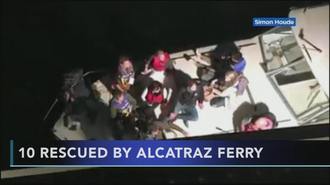 Alcatraz ferry crew rescue 10 from small vessel