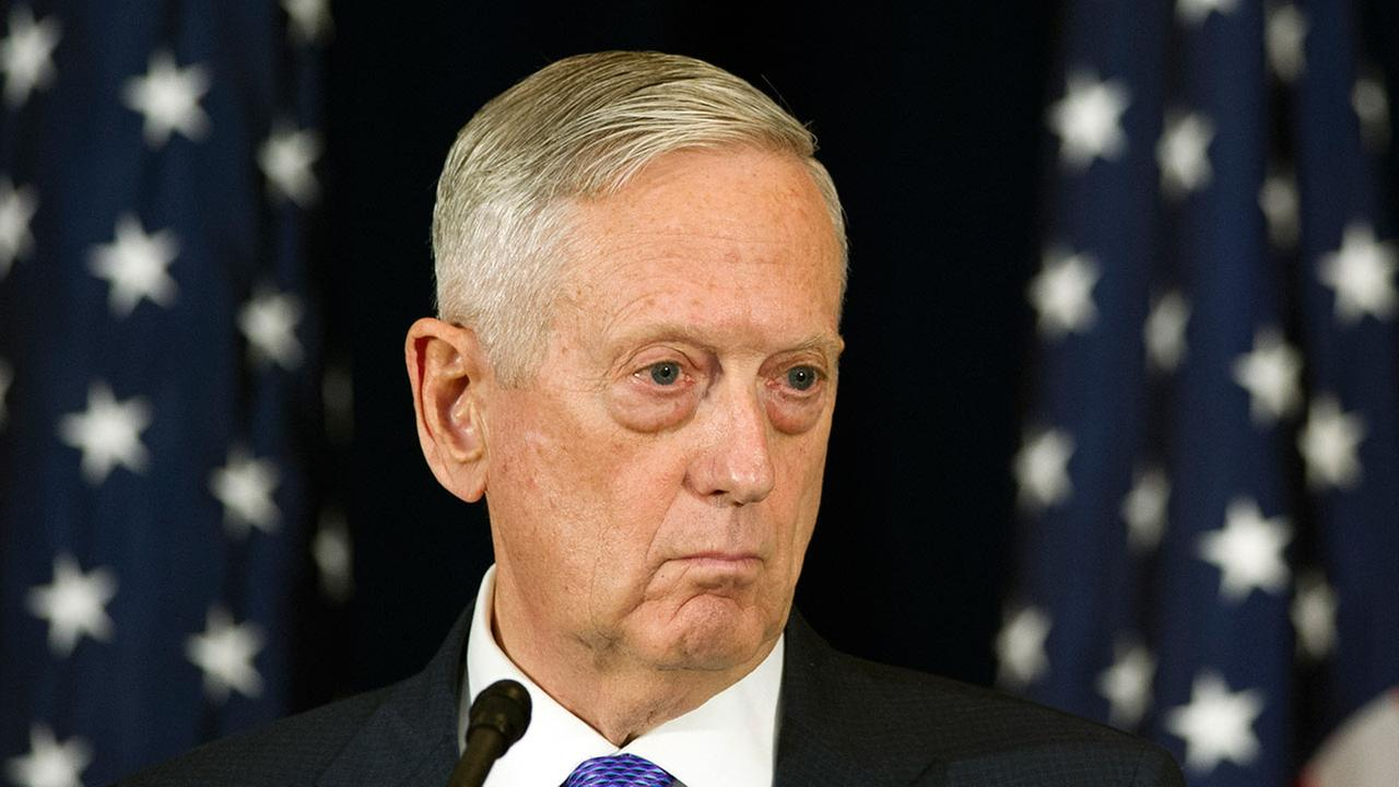 Secretary of Defense Jim Mattis appears at news conference on Wednesday, June 21, 2017. (AP Photo/Cliff Owen)