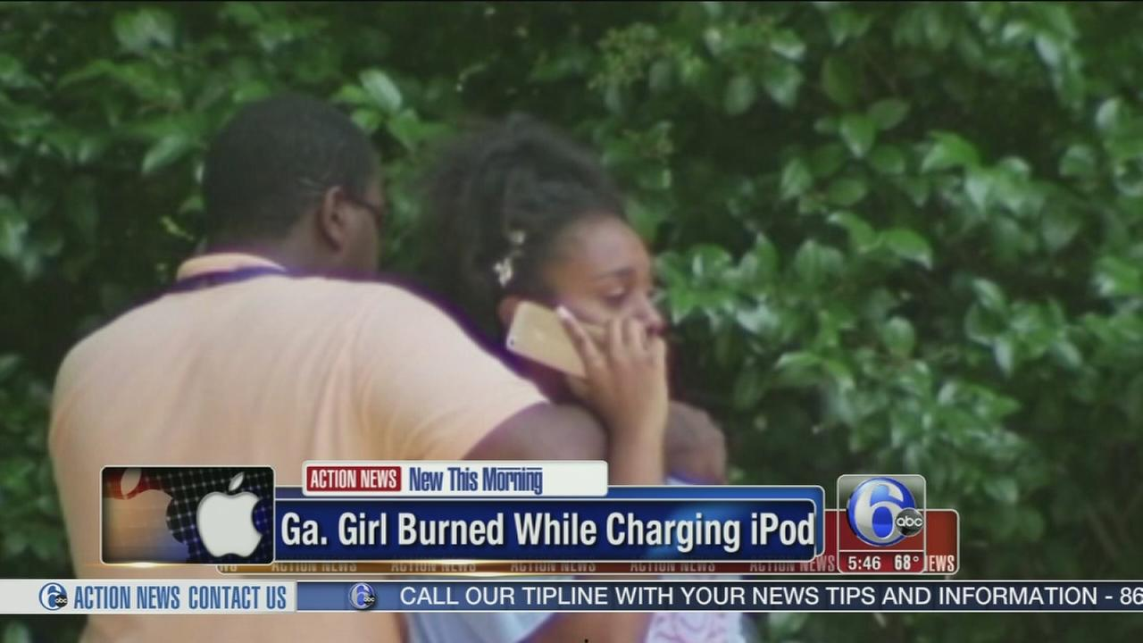 VIDEO: Georgia girl burned charging iPod, dad says.