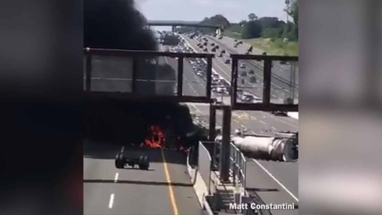 VIDEO: Overturned oil tanker