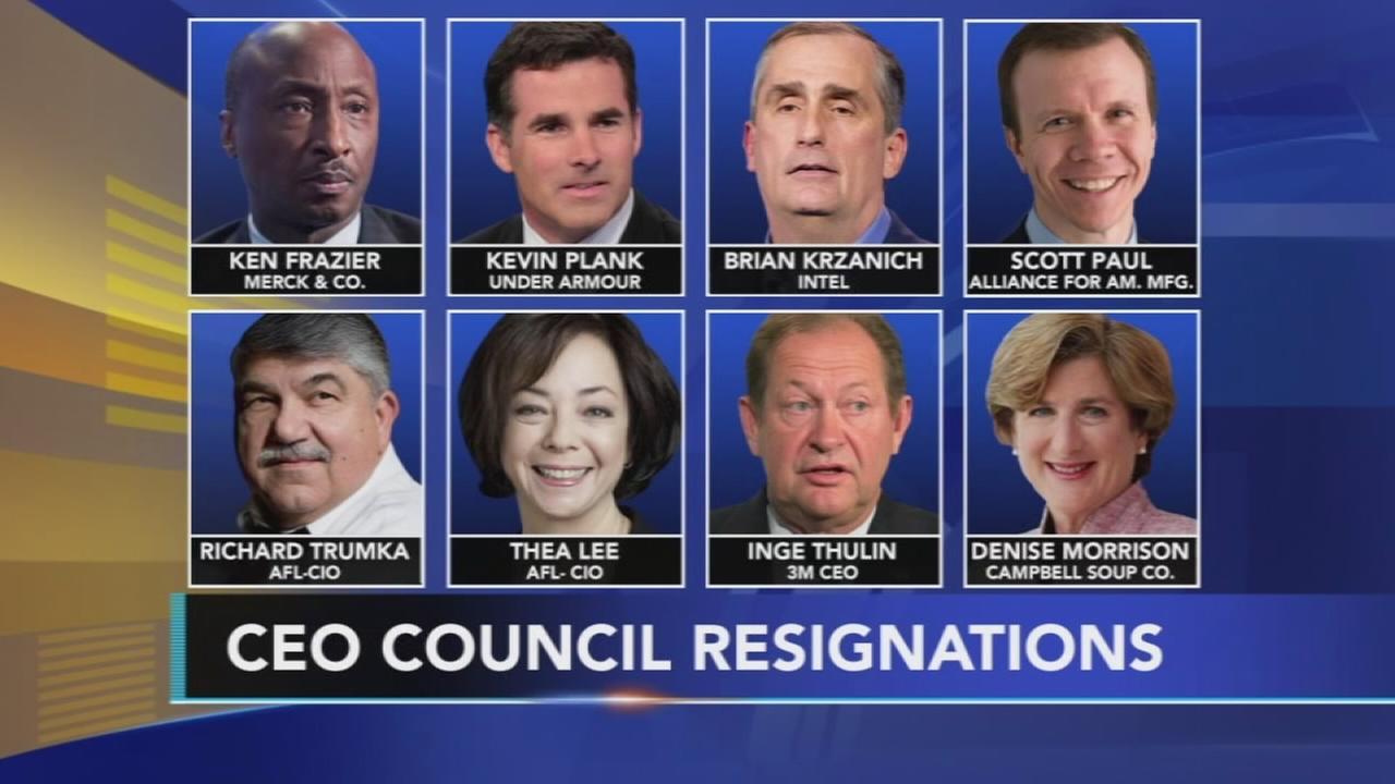Corporate chiefs flee Trump; he disbands WH advisory panels