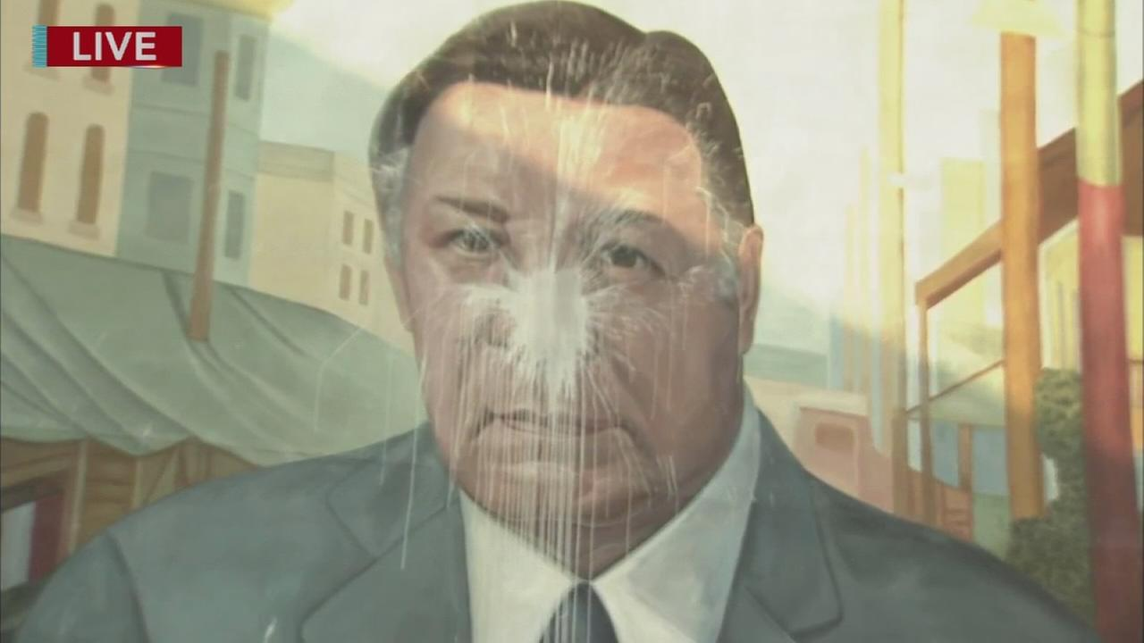 Frank Rizzo mural defaced with paint in South Philadelphia