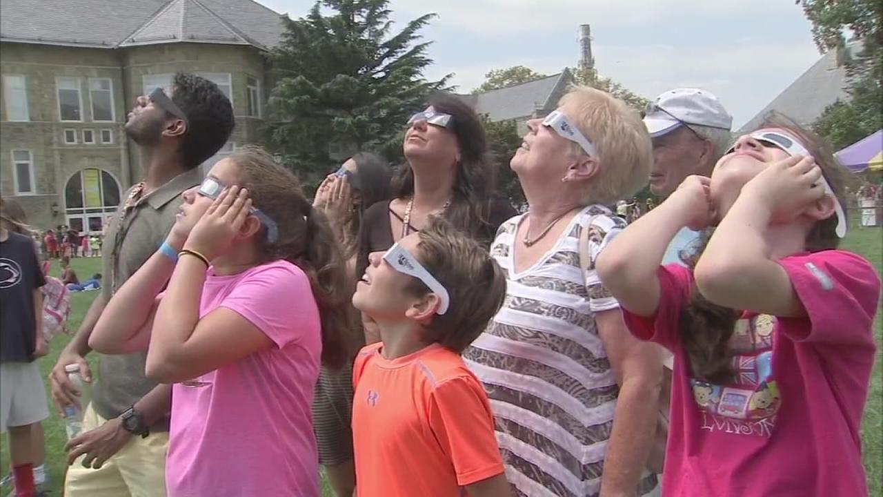 Gazing at the eclipse in West Chester University