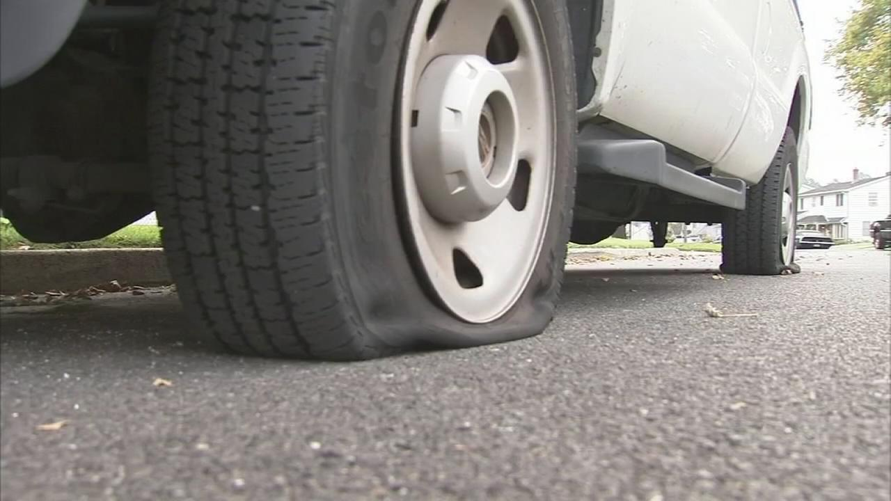 VIDEO: Vandal slashes tires on at least 18 vehicles in Levittown