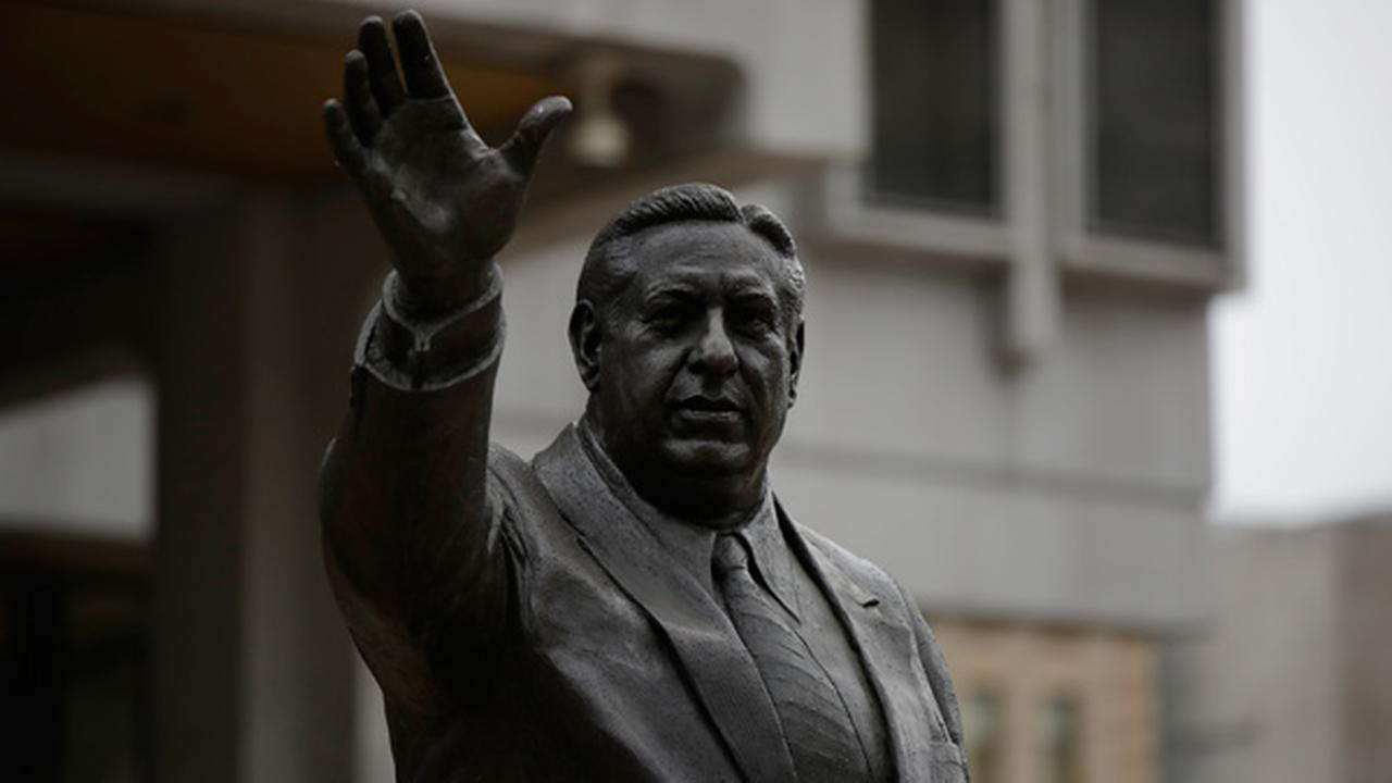 Shown is a statue of the late Philadelphia Mayor Frank Rizzo, who also served as the citys police commissioner outside the Municipal Services Building in Philadelphia.