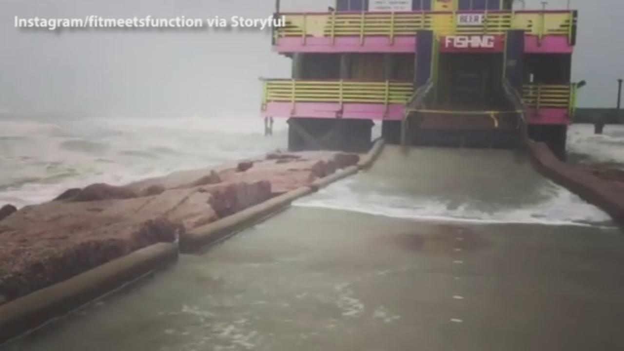 Video Galveston Pier Pummeled By Waves During Hurricane