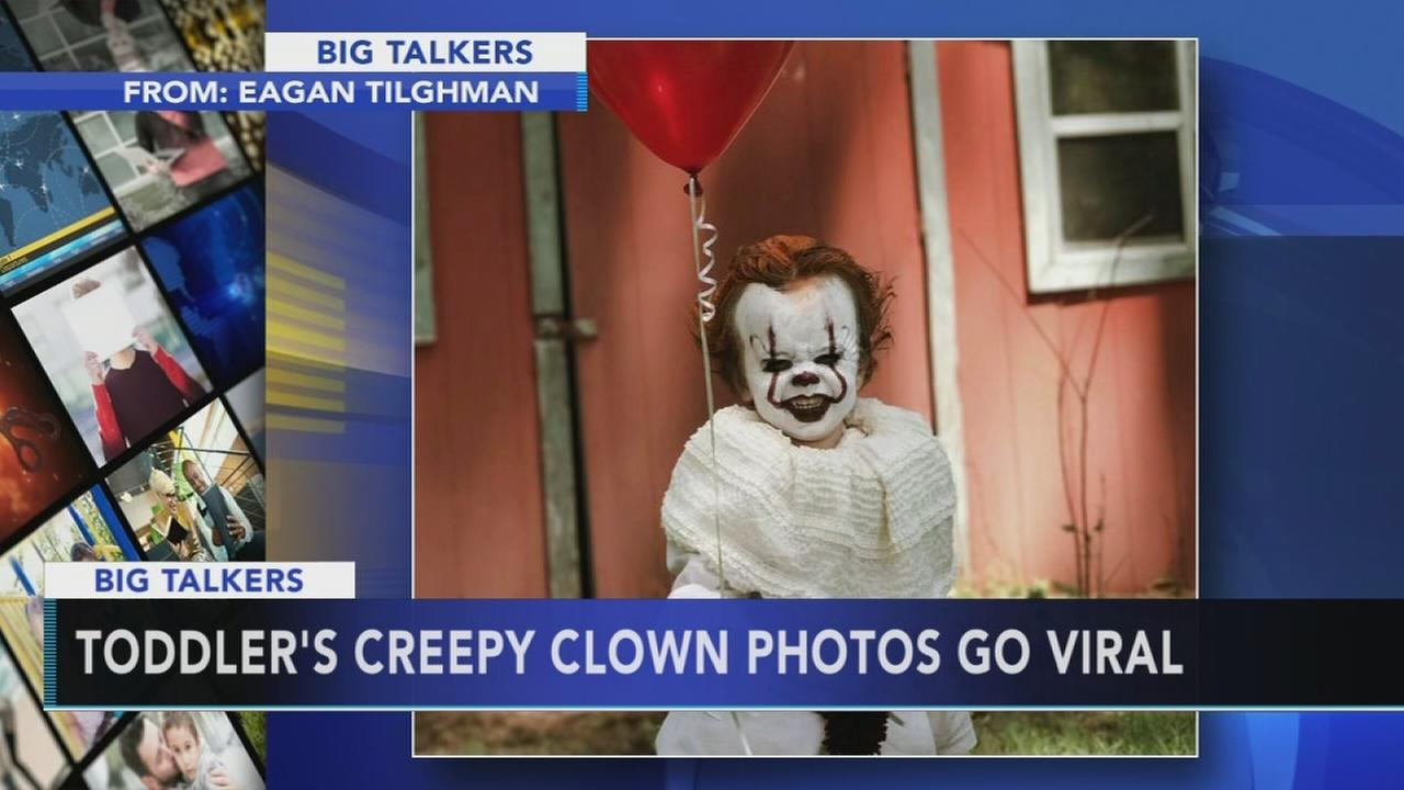 Teen dresses brother as creepy clown for IT themed photoshoot