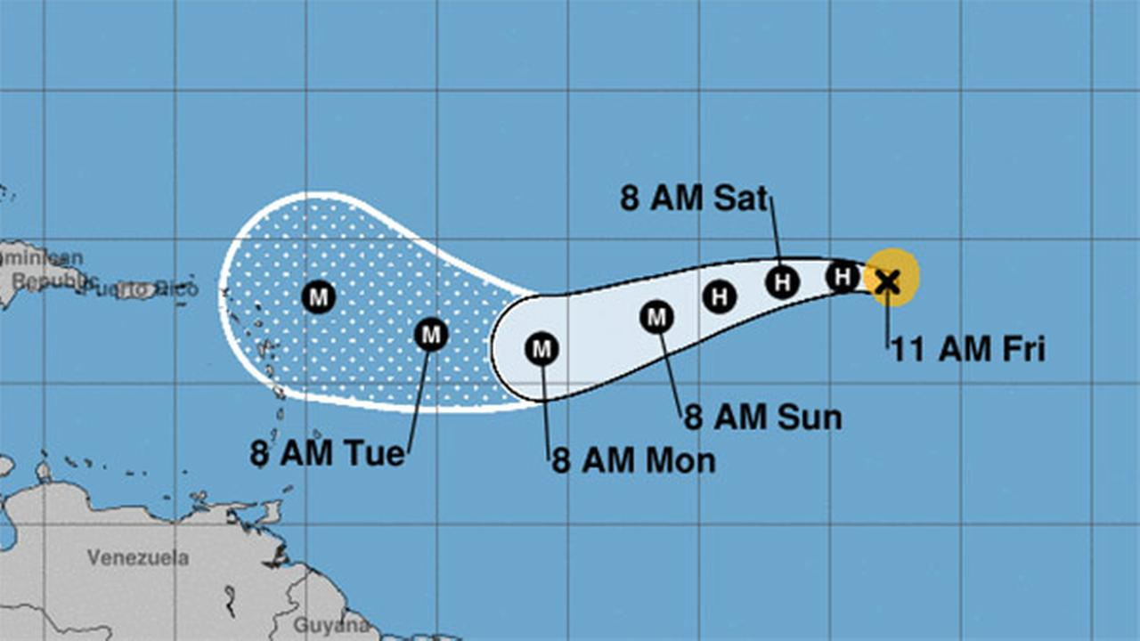 Hurricane Irma approaching the Lesser Antilles