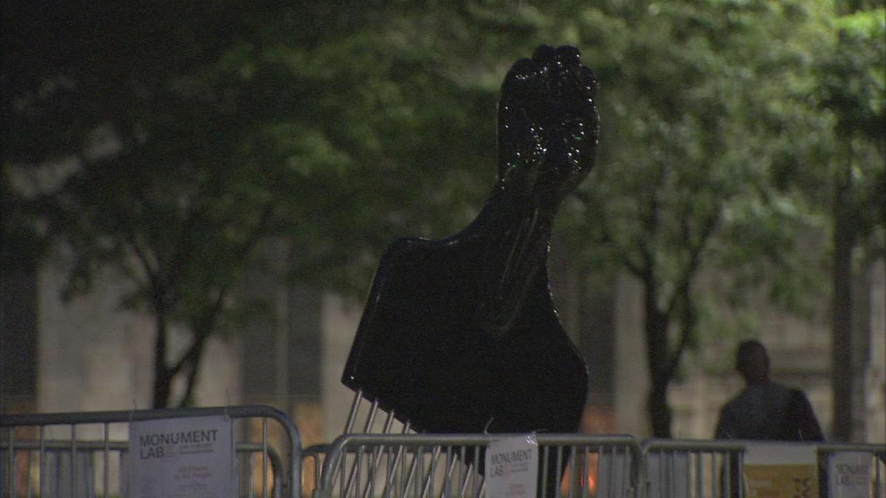 Mural Arts Afro pick sculpture goes up near Rizzo statue