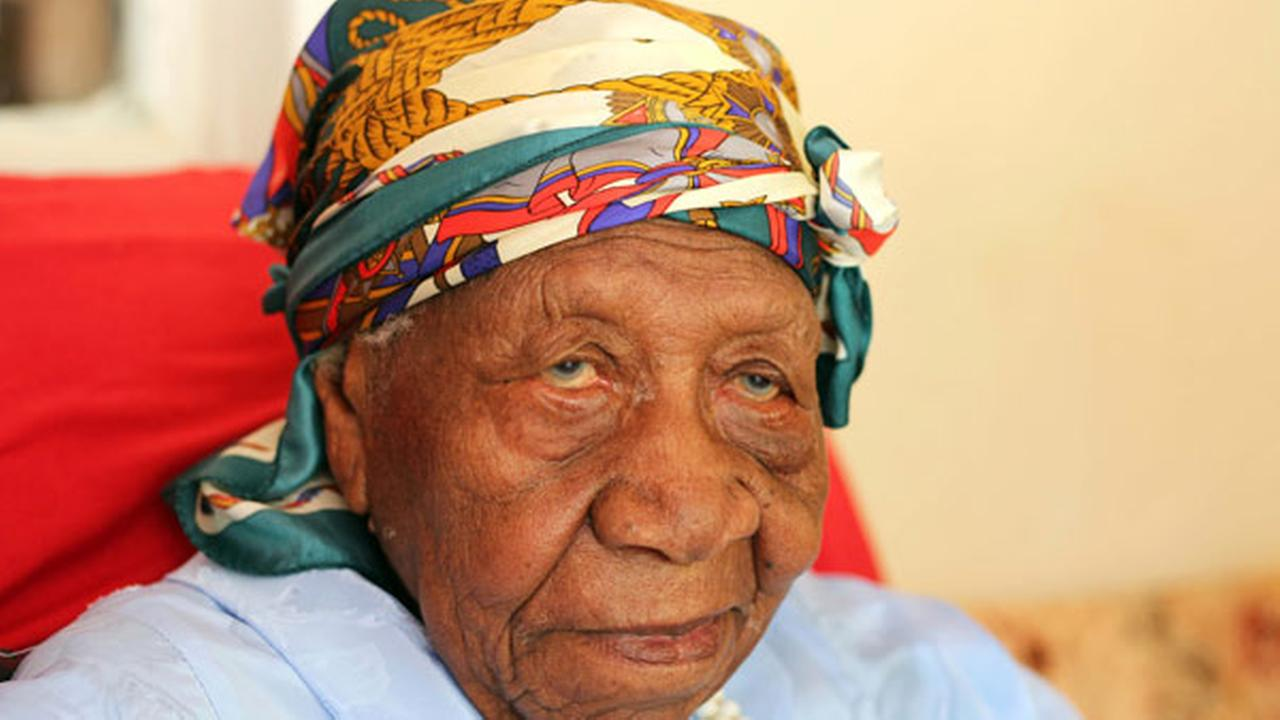 The worlds oldest person Violet Brown poses for a photo at her home in Duanvale, Jamaica, Sunday, April 16, 2017.