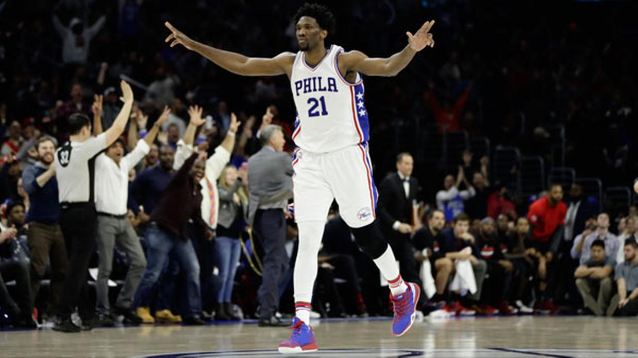 Philadelphia 76ers Joel Embiid in action during an NBA basketball game against the Houston Rockets, Friday, Jan. 27, 2017, in Philadelphia.