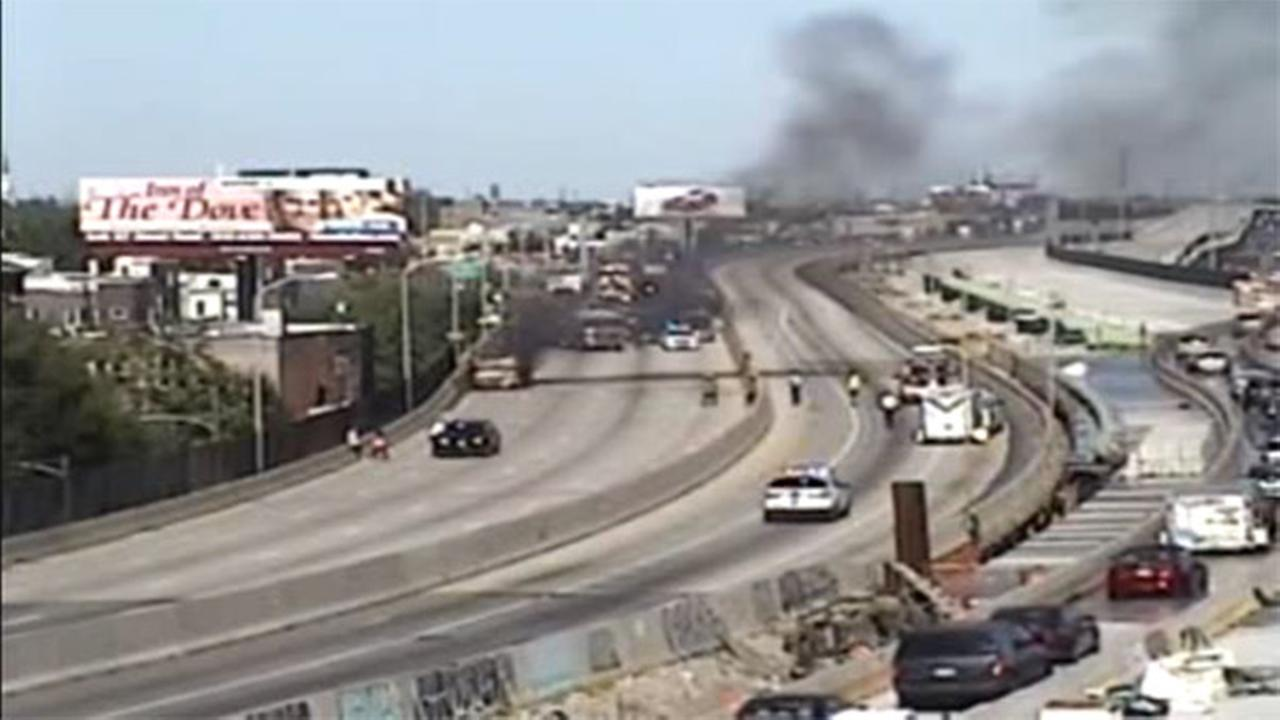 RV catches fire on I-95 in Fishtown