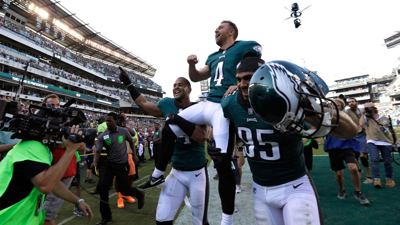 Philadelphia Eagles Jake Elliott (4) is carried off the field after kicking an NFL football game-winning field goal against the New York Giants.