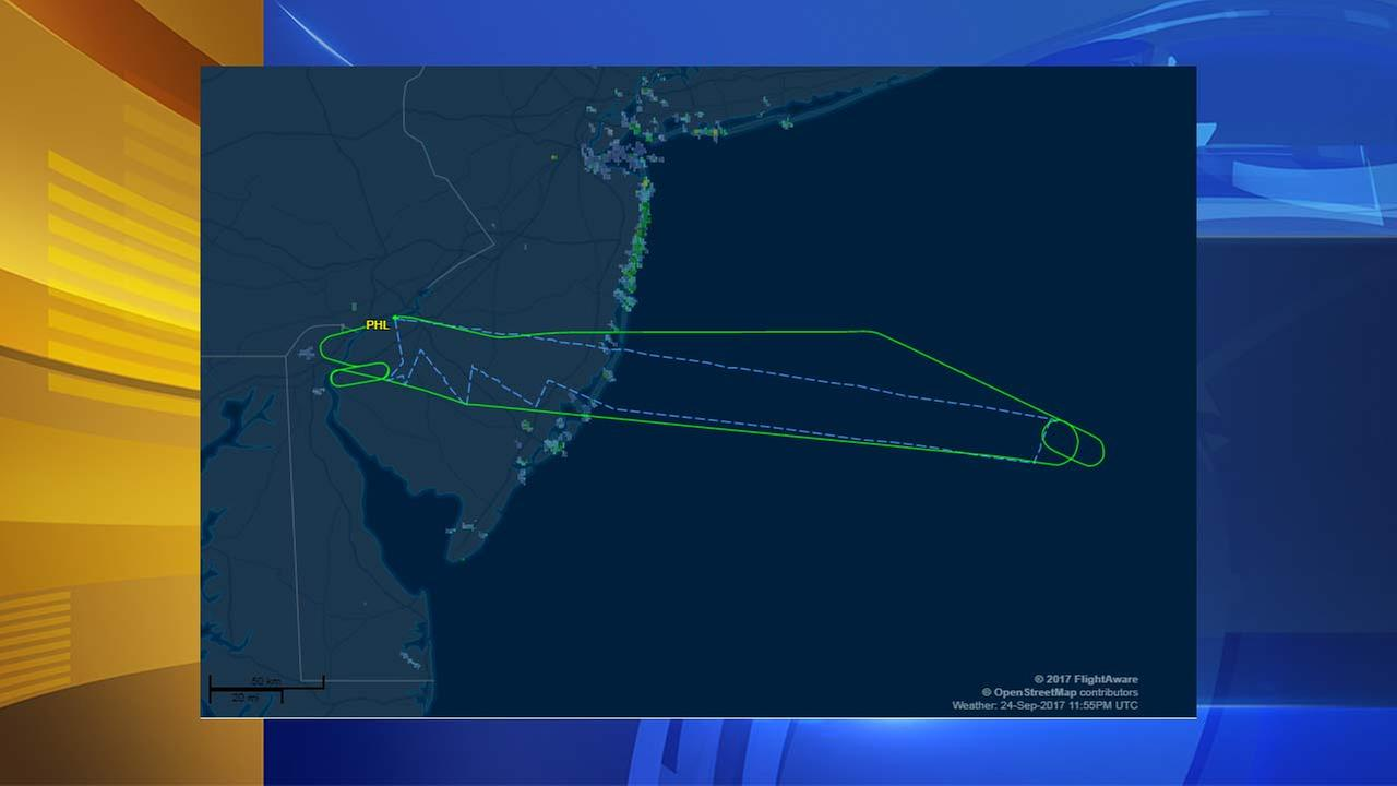 Flight path of plane that returned to airport Sunday night.