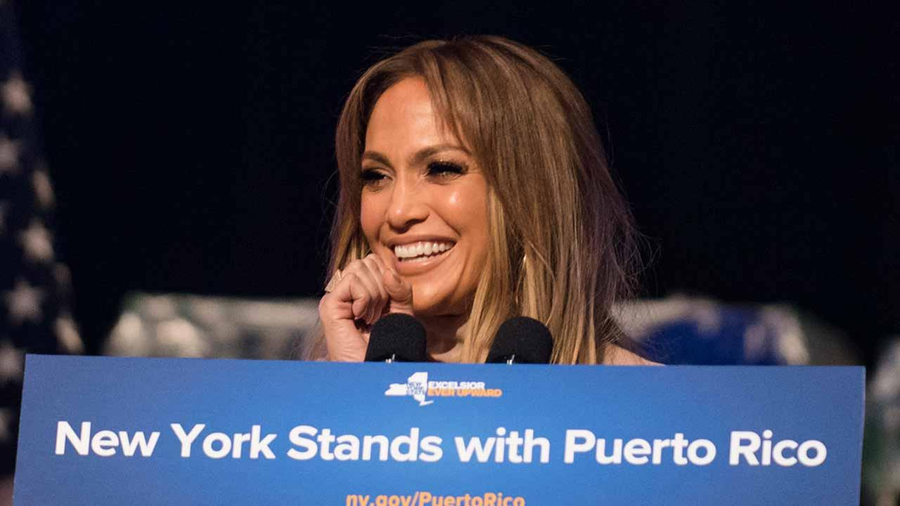 Jennifer Lopez announces her new hurricane recovery efforts for Puerto Rico Sunday, Sept. 24, 2017 in New York. She pledge to donate time and money help the recovery efforts.