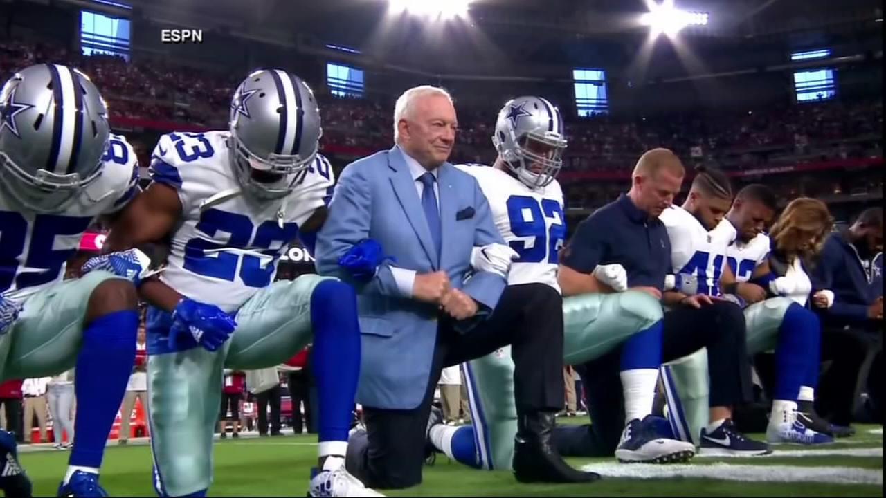 Jerry Jones, Cowboys kneel before national anthem against Arizona