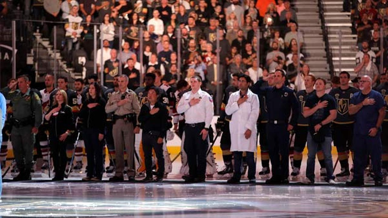 Golden Knights pay tribute to heroes, victims in Vegas opener