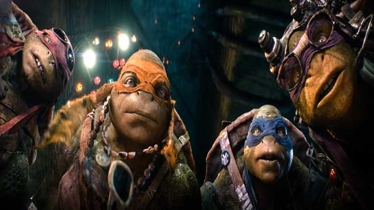 This image released by Paramount Pictures shows characters, from left, Raphael, Michelangelo, Leonardo, and Donatello in a scene from Teenage Mutant Ninja Turtles.